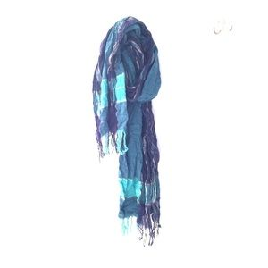 Blue with Gold Cotton Scarf from India
